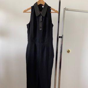 Yves Saint Laurent Jumpsuit Black W/ Leather Trim